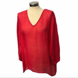 Eileen Fisher High Low Sheer Linen Red Top